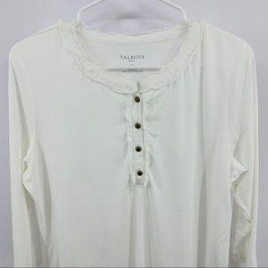 Talbots Tops - Talbots White Four Button Long Sleeve Tee Shirt